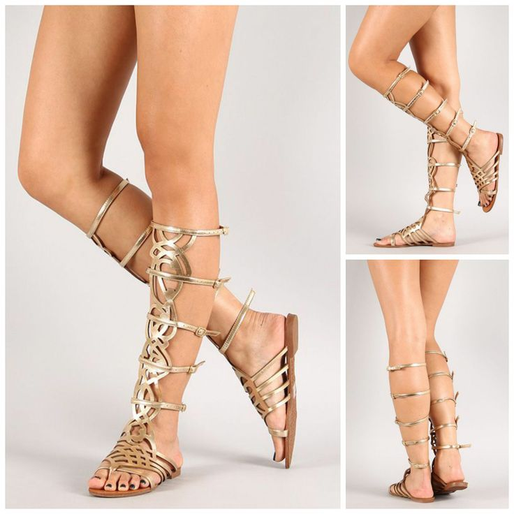 Details about Breckelles Knee High ROMA Gladiator Flat