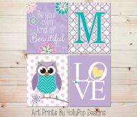 Nursery wall art Girls room decor Girl owl art Girl ...