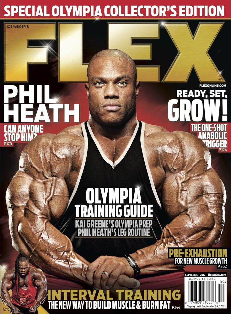 Flex Magazine cover September 2012 featuring Phil Heath fitness bodybuilding exercise  Flex
