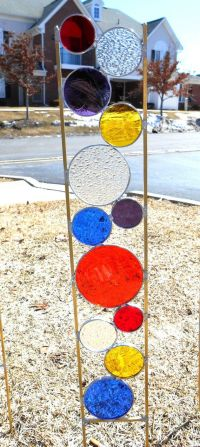 Stained glass garden art stake primary colors orange red ...