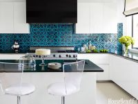 modern white kitchen with Mediterranean teal & black tile ...