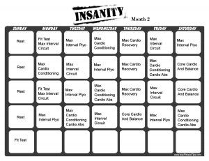 Insanity Workout Calendar Month 2...I suggest this to