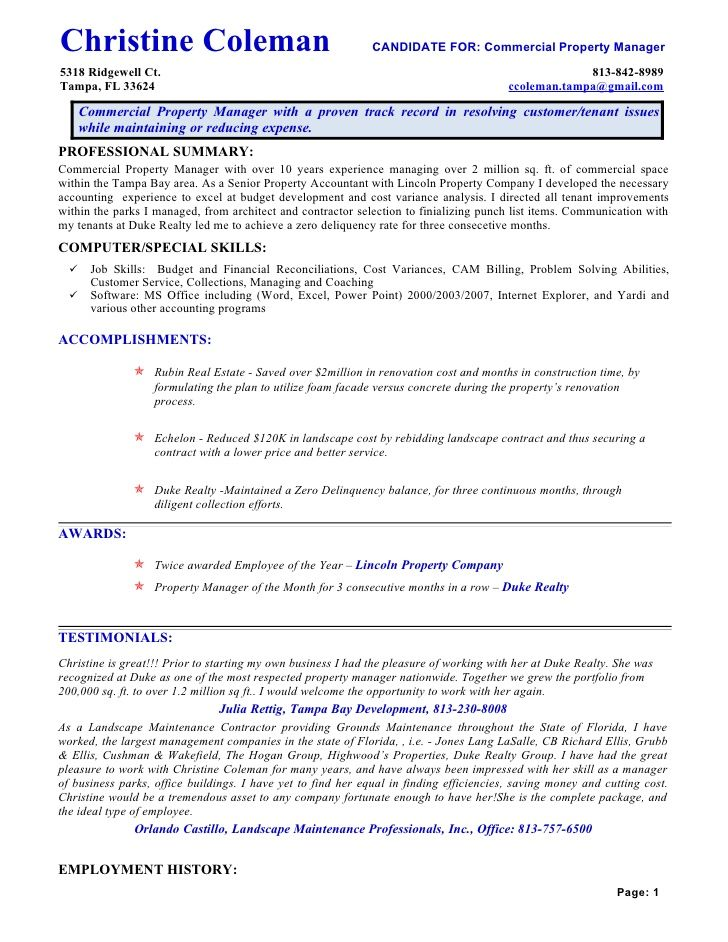 14 Commercial Property Manager Resume  Riez Sample
