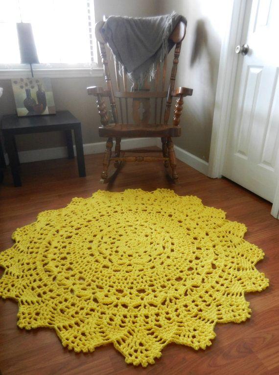 Yellow Doily Round Rug Crochet Rustic Rug Shabby Home