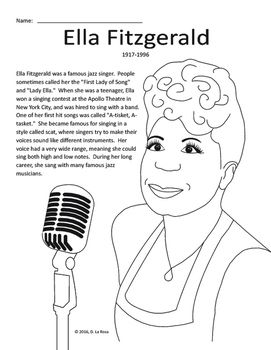 Ella Fitzgerald Biography, Coloring Page, and Word Search
