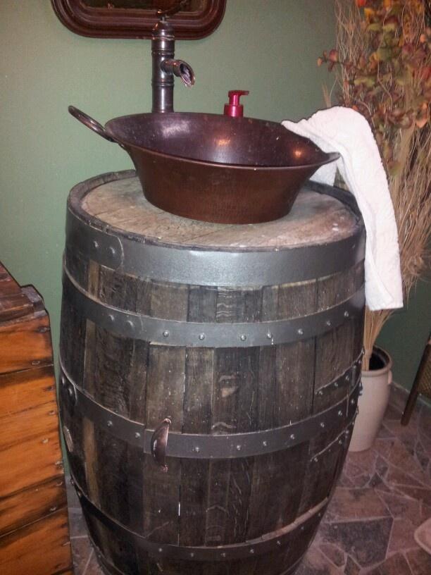 Whiskey Barrel sink  I did it ok we did it