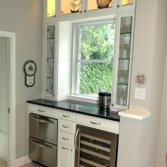 How Much Is A Kitchen Remodel Backslash Converted Desk Nook Into Bar With Wine Cooler And Ice ...
