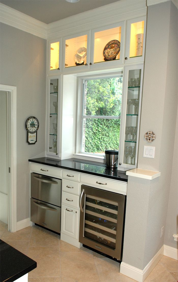 kitchen cabinet ideas for small kitchens vintage looking appliances converted a desk nook into bar with wine cooler and ice ...