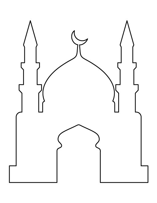 Mosque pattern. Use the printable outline for crafts