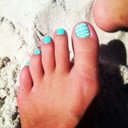 blue & white beach toes
