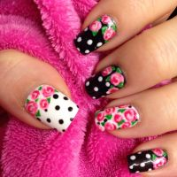Vintage rose nail art, Black & White. | nails I like ...