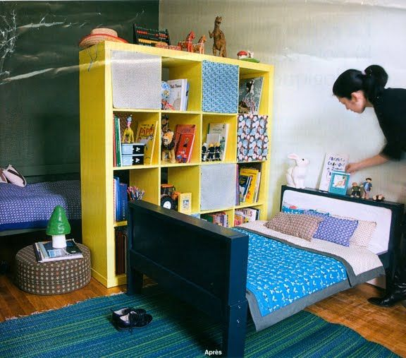 Expedit Room Divider I Loved Using Shelves As A But For Our Small Shared Bedroomshared Kids