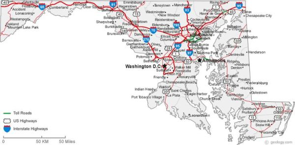 map of Maryland cities STATE OF MARYLAND USA Pinterest
