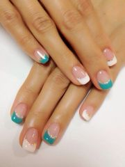 white teal & gold nails