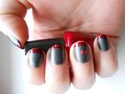 grey and red nails nail art