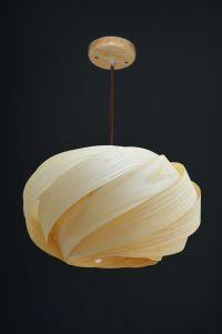Living Room Winsome Wood Veneer Lampshade Ash Pendant ...