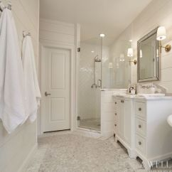 Beveled Subway Tile Kitchen Whirlpool Appliances Ship Lap Walls Painted White Dove By Benjamin Moore | New ...