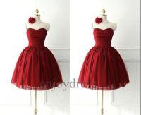 Custom Short Dark Red Bridesmaid Dresses 2014 Lovely by