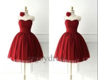 Custom Short Dark Red Bridesmaid Dresses 2014 Lovely by ...