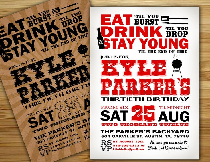 bbq and beer party ideas  Barbecue  Beer Birthday Party Invitation  invite  30th birthday