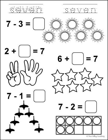 Free Printable. Learning number bonds of 7 math equations