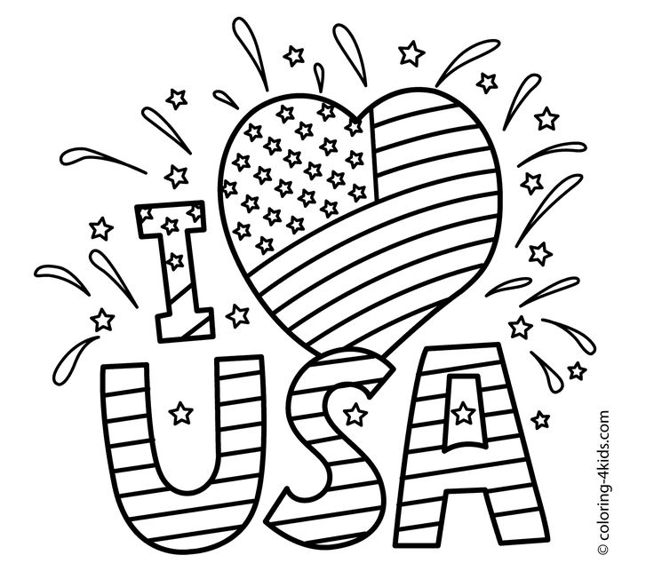 I love USA coloring pages, July 4 independence day