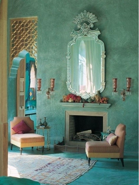 Lime Washed Turquoise walls for a relaxing room with a hot tub in the next room  Nest