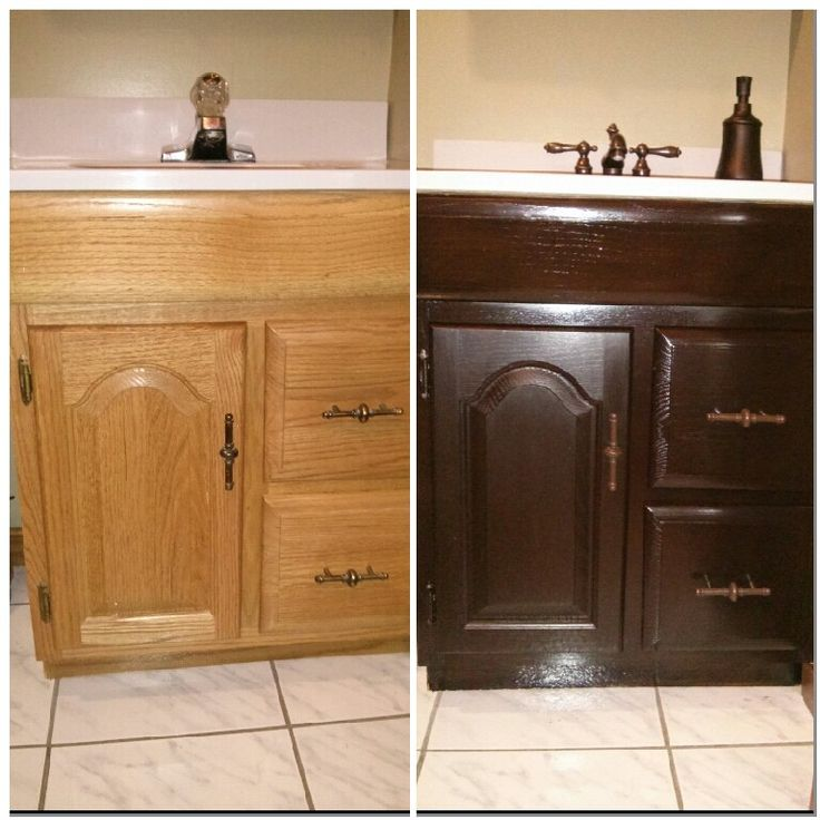 kitchen cabinet spray paint knife storage like new bathroom vanity! general finishes java gel stain ...
