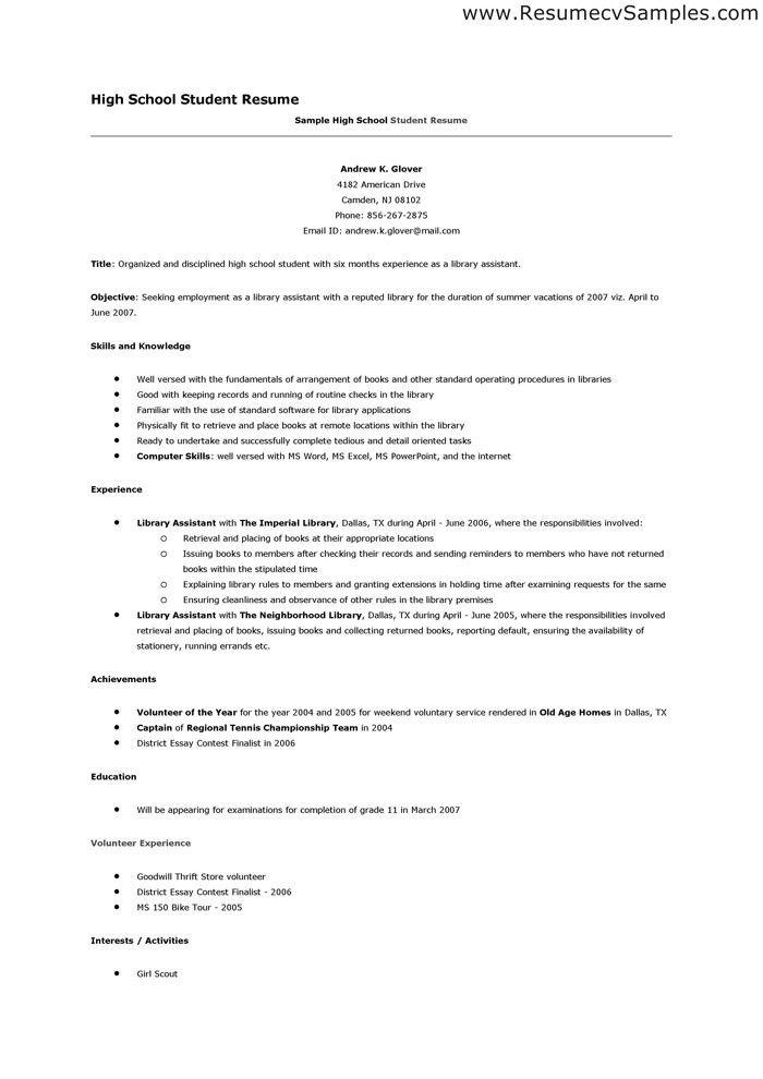 Resume For High School Student Template Resume Sample For High