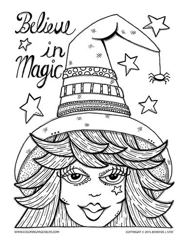 Halloween Coloring Page for adults and grown ups. Believe