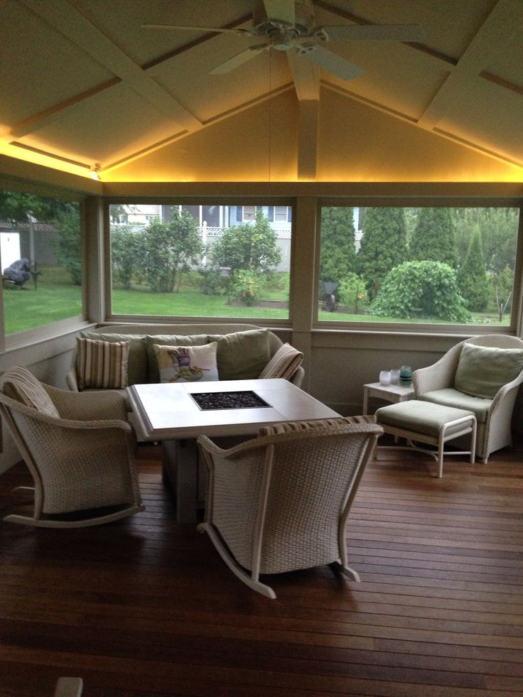 screen porch lounge chairs aldi recliner lift chair screened in with up lighting and sunset bay outdoor fire pit. | pinterest bays ...