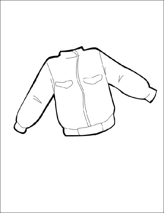Denim Jean Jacket Flat Drawing Sketch Coloring Page