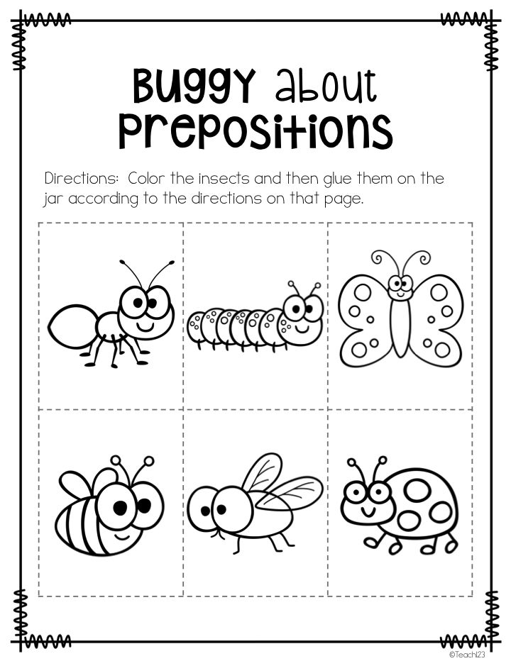 Printable Preposition Worksheets For Kindergarten