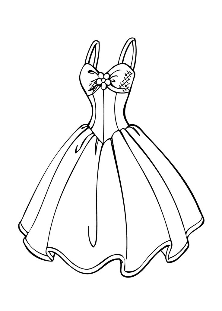 Wedding dress coloring page for girls, printable free