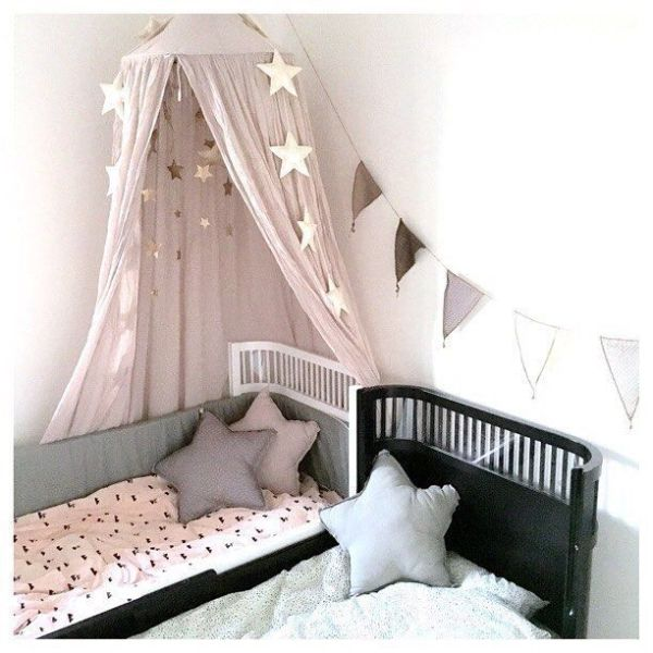 little girls pink bedroom with canopy bed The Powder Pink Número 74 Canopy is styled beautifully in this little girls bedroom | Canopies