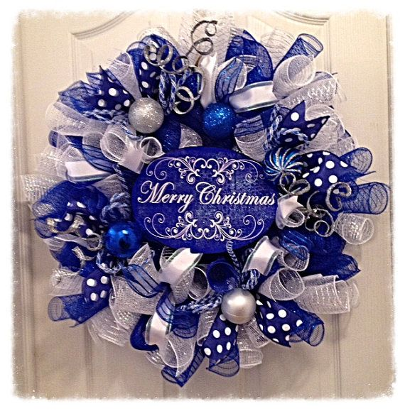 Wow, this beautiful Blue Merry Christmas Wreath will brighten your home this Holiday Season!! It is made with blue, silver and