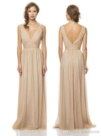 Simple And Perfect Tan Bridesmaid Dress Chiffon V Neck ...