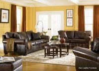 brown leather living room, yellow and red | decor ideas ...
