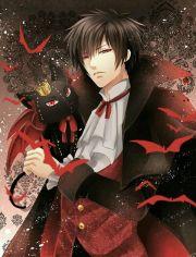 black hair anime vampire guy