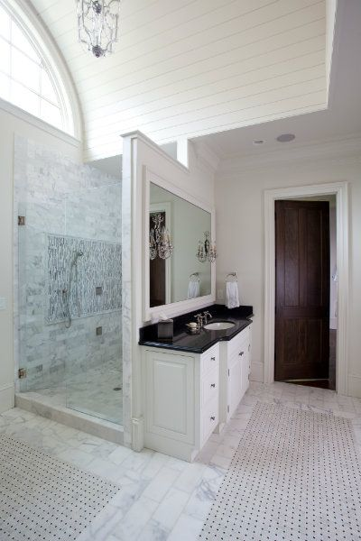 Walk In Shower behind vanity wall  Amazing Bathrooms