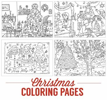 Cute Christmas coloring pages from Activity Village