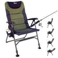 Portable, reclining folding chair for fishing with