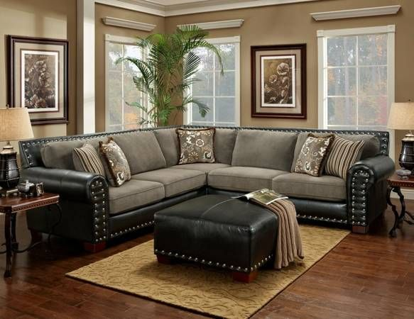 2 piece brown leather sofa cushions to match tan black and grey sectional sofa, nailhead trim | for the ...