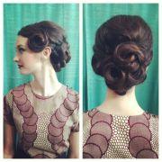 vintage hair updo. 1950s. pin curls