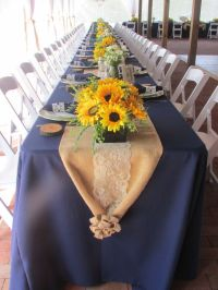 Navy, Lace, Sunflowers, Burlap Wedding Table Setting By ...