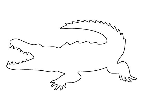 Crocodile pattern. Use the printable outline for crafts