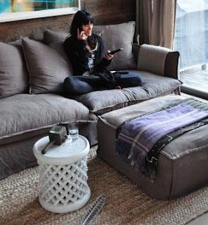 sofa style big and fluffy vintage grey Master sitting