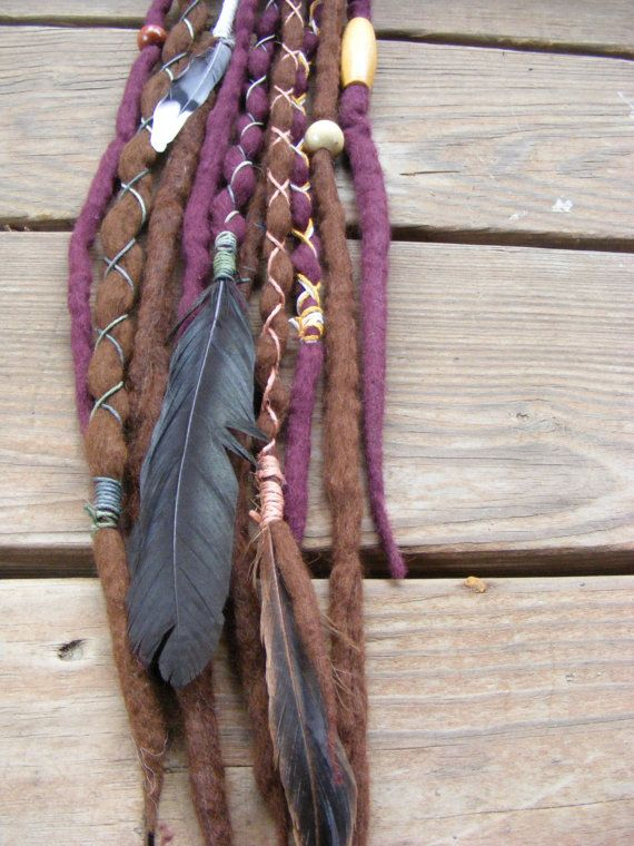 10 SE Tribal Hippie Wool Dreads Dreadlock ExtensionsWith Feathers Wood Beads  Wraps Festival