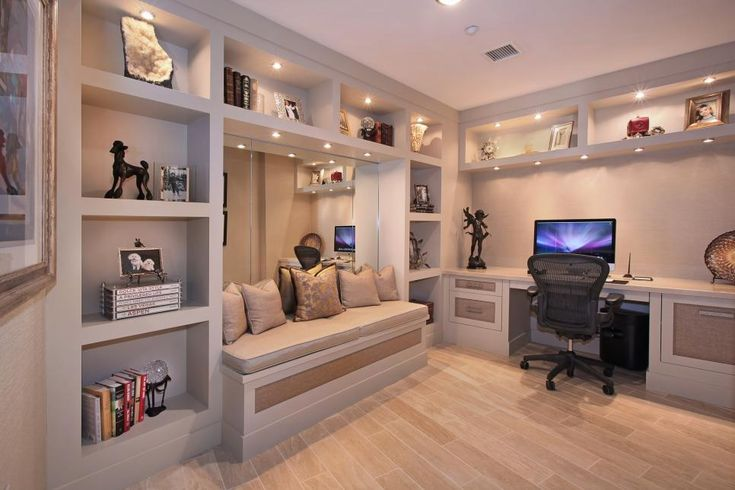 The desk shelving and bench in this home office are built