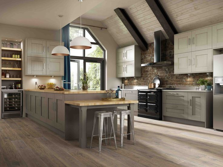 Austin Pumice and Clay  built around the classic shaker design this kitchen combines the rich